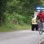 The final rider coming home under escort
